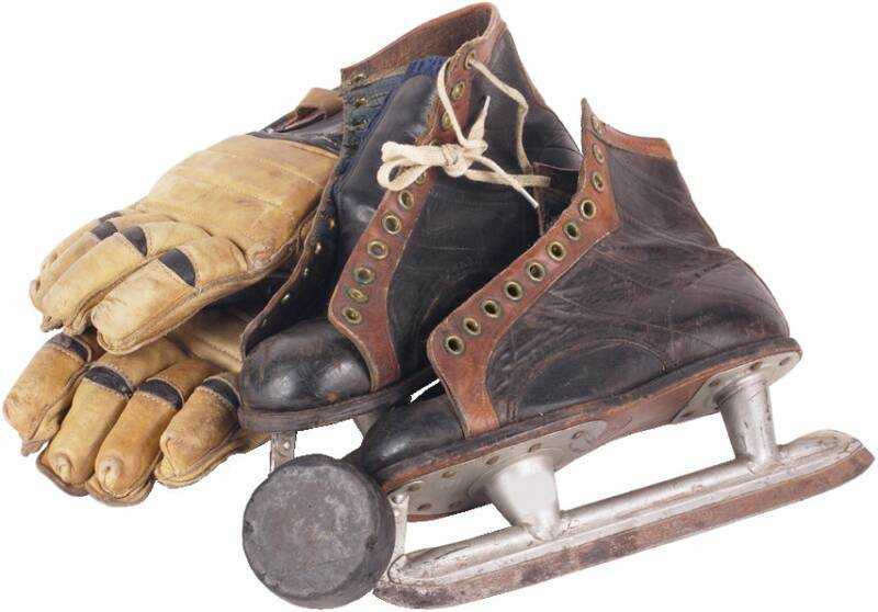 Old hockey equipment.